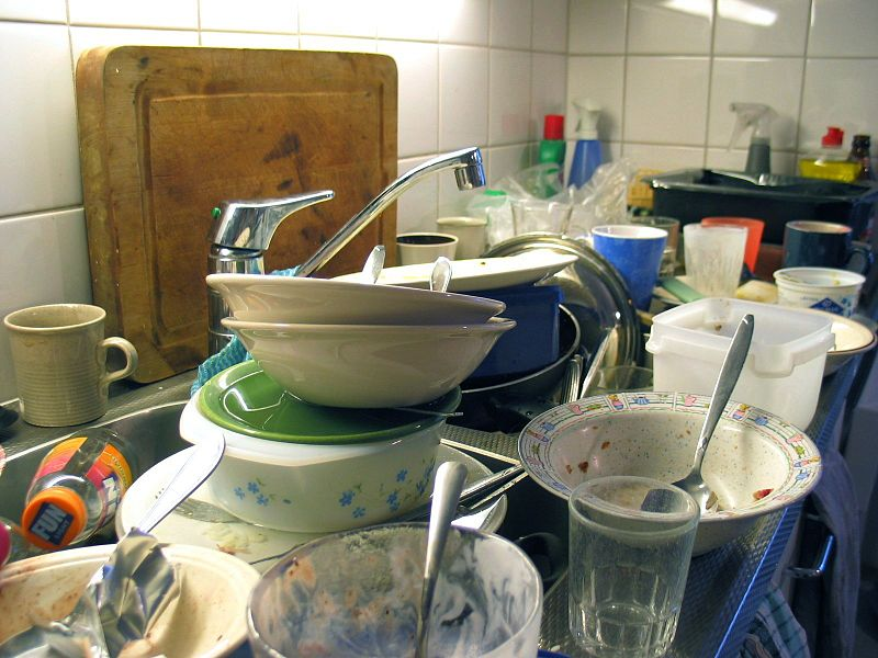 unclean dishes on the sink