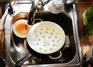 unwashed dishes on the sink